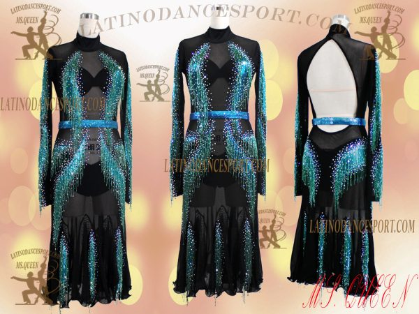 LDS-99-Ballroom Latin Dance Dress Tailored Stoned-Bead Fringes Competition