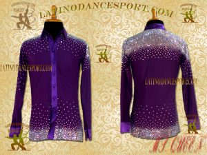 MDS-06A-Ballroom Dance Costumes Latin Rhythm Tailored Dance Shirt Body DMC Stoned Competition